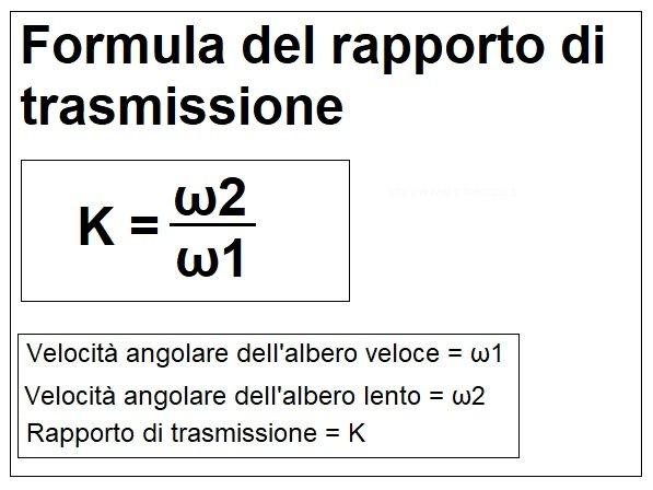 Rapporto di trasmissione formula